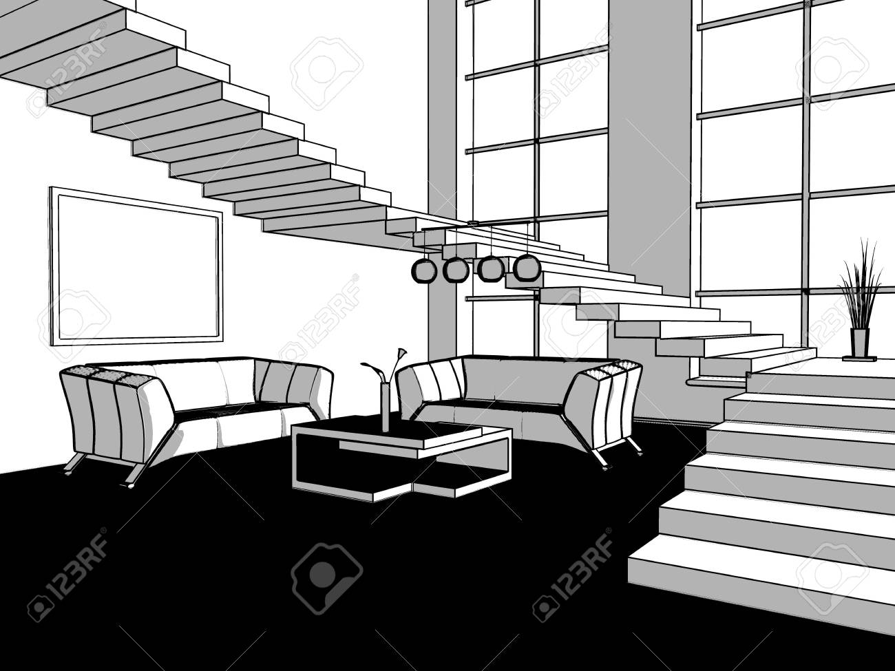 place for rest in office or apartment line image Stock Photo - 4832873