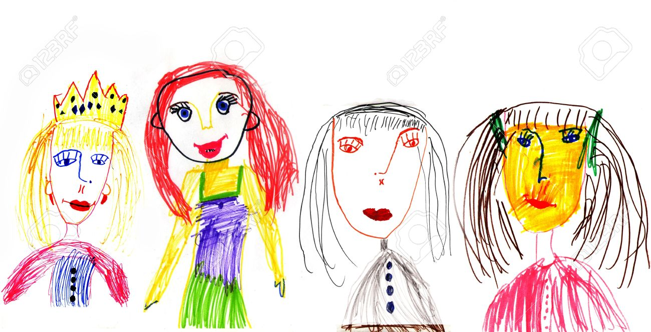 Children\'s Drawing Colour Pencils On A White Paper Stock Photo ...