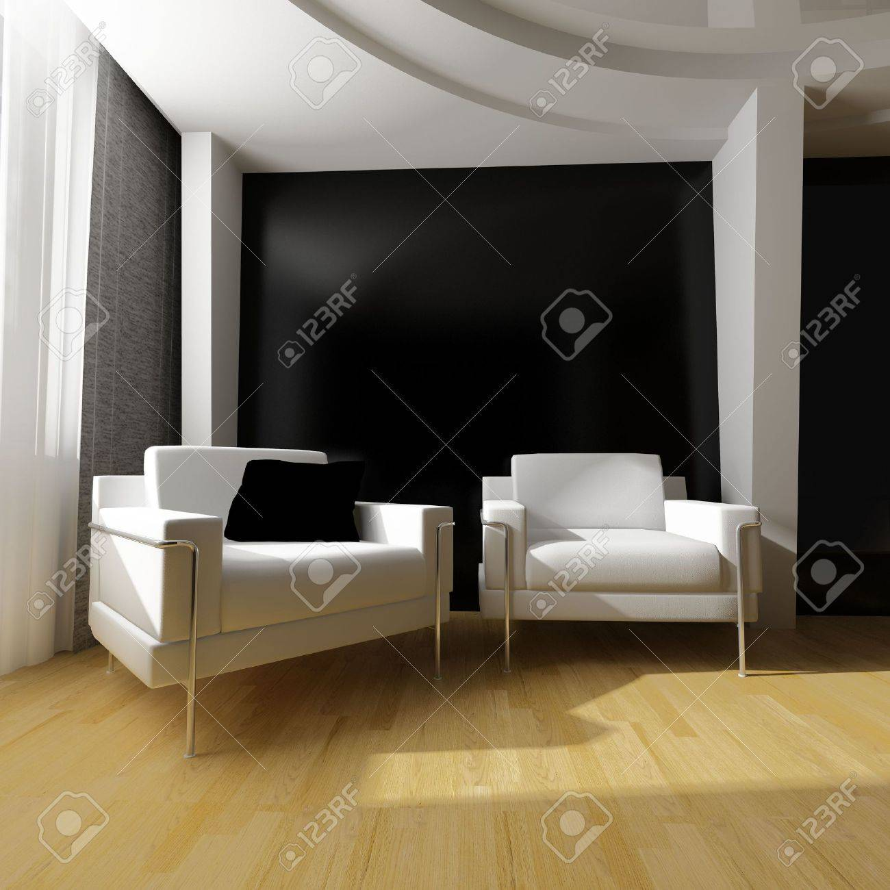 modern white drawing room 3d image Stock Photo - 6488015