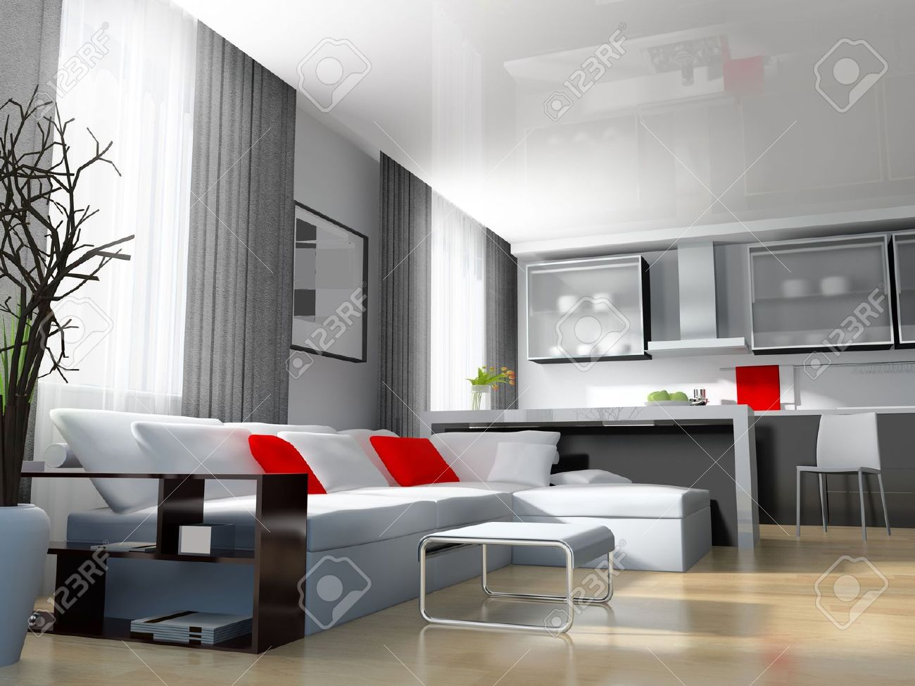 Modern White Drawing Room 3d Image Stock Photo   6658122