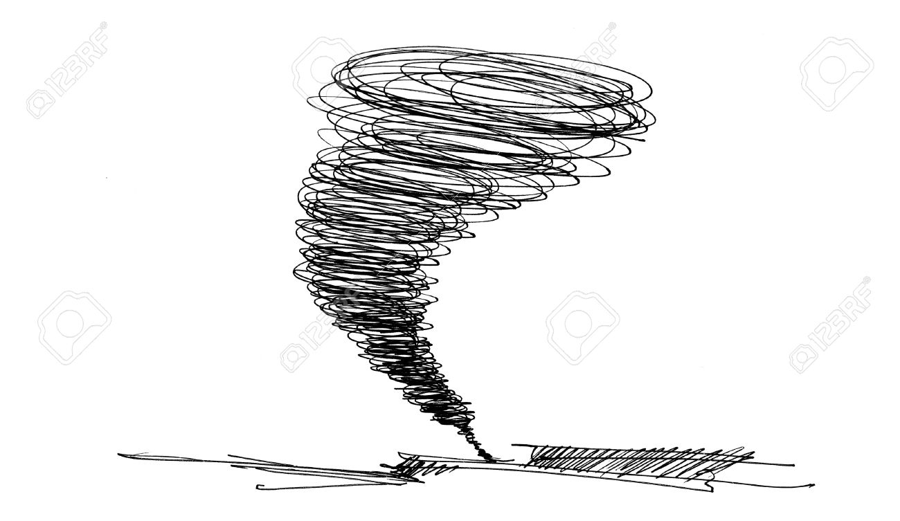 sketch of the hurricane drawn by pencil on white background Stock Photo - 6975286