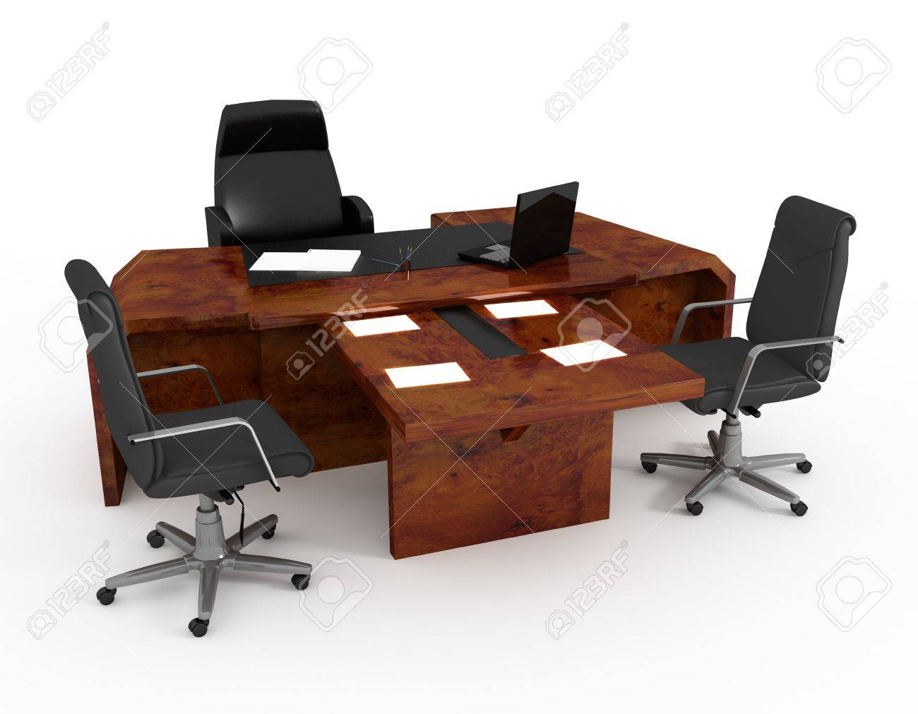 set of office furniture on a white background stock photo, picture