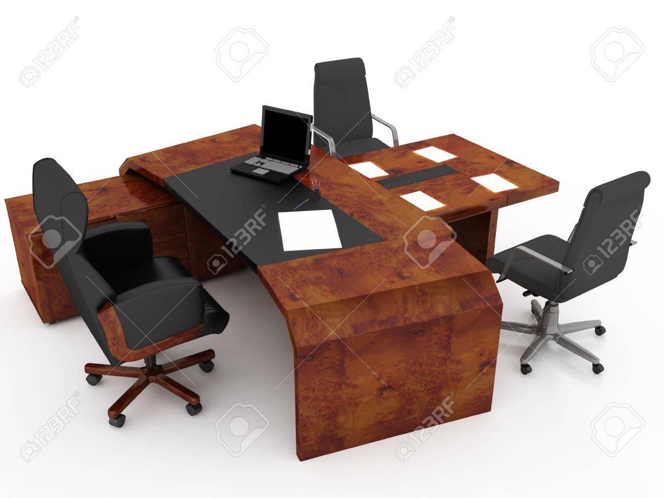 set di mobili per ufficio su uno sfondo bianco foto royalty free ... - Mobili Per Ufficio Su