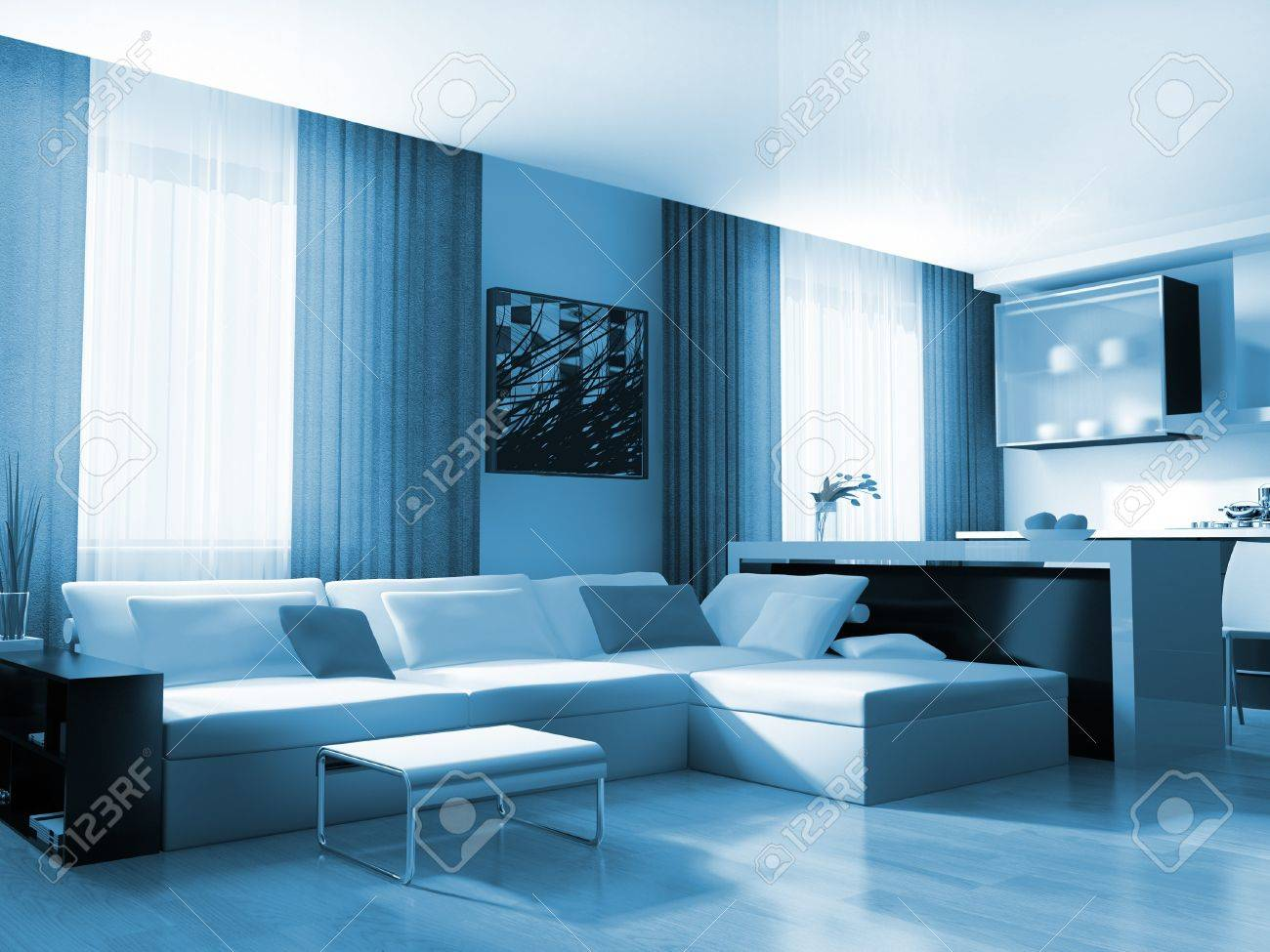 modern white drawing room 3d image Stock Photo - 8108471