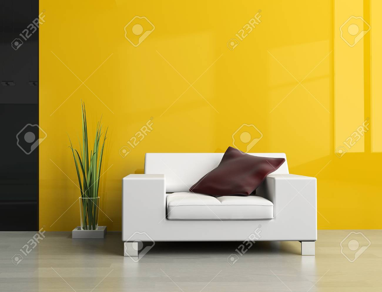 White sofa in a drawing room 3d image Stock Photo - 8886064