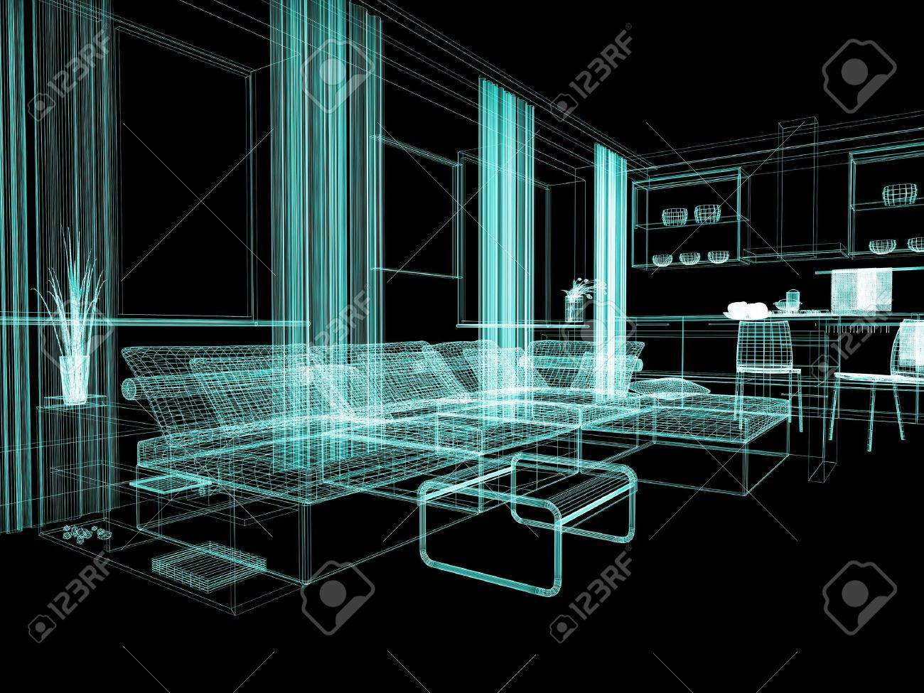 modern white drawing room 3d image Stock Photo - 9057798