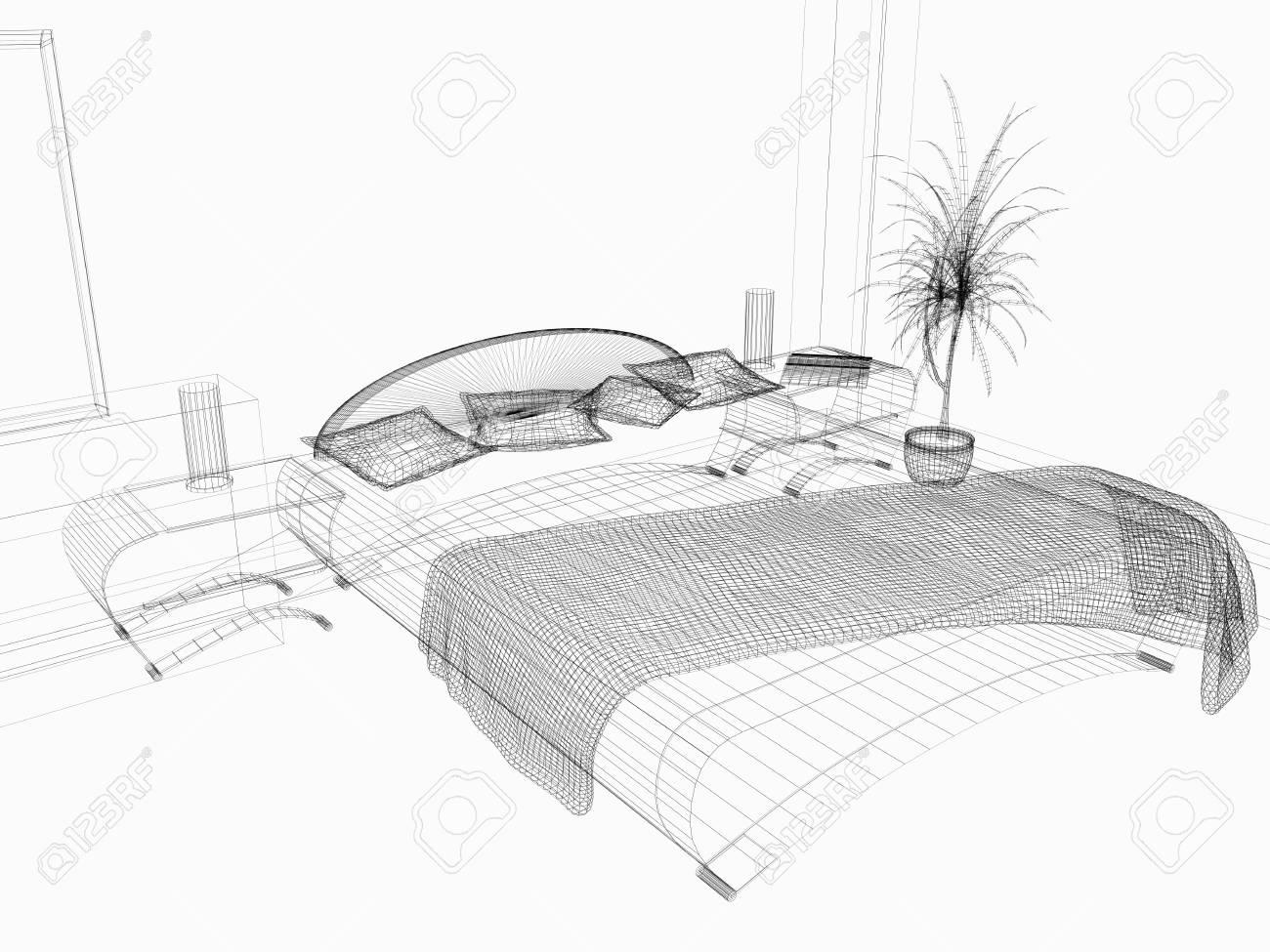 Bedroom in modern style 3d rendering Stock Photo - 9325434
