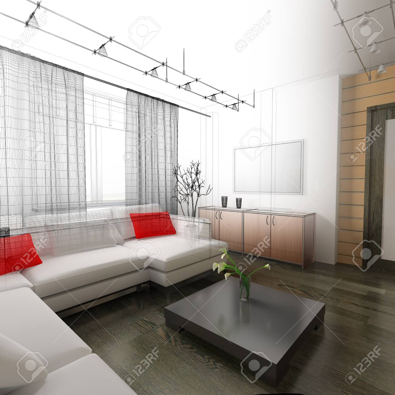 interior of drawing room 3d rendering Stock Photo - 9410716