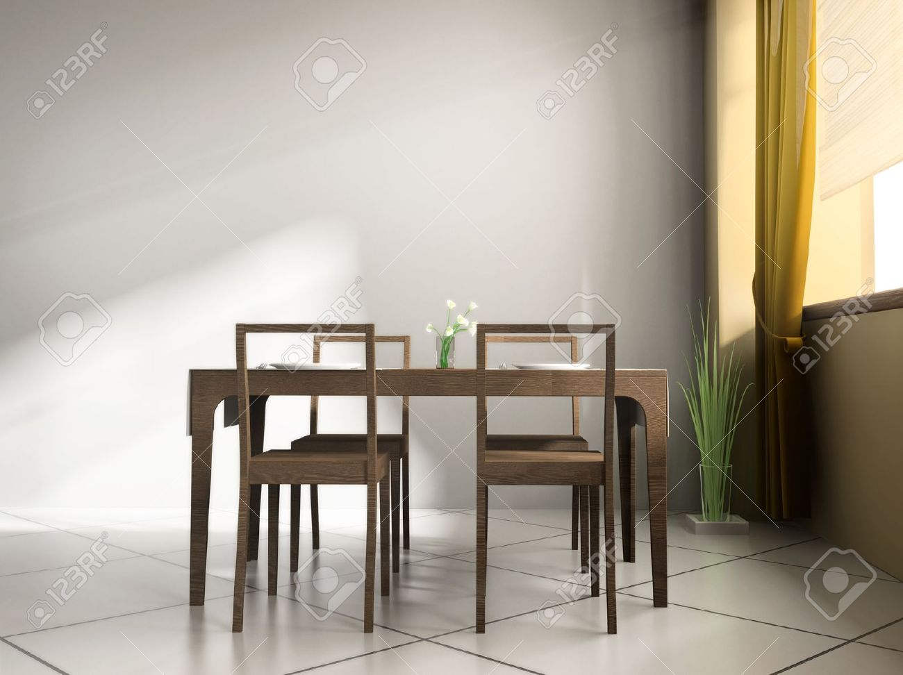 Modern cafe chairs and tables - Dining Table In Modern Cafe 3d Image Stock Photo 12620933
