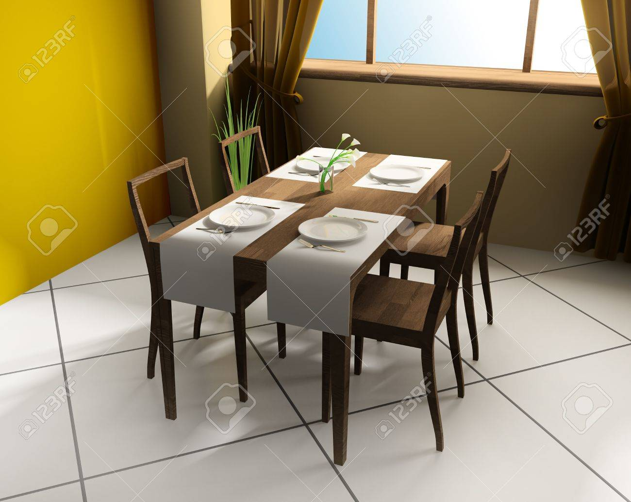 Modern cafe chairs and tables - Stock Photo Dining Table In Modern Cafe 3d Image
