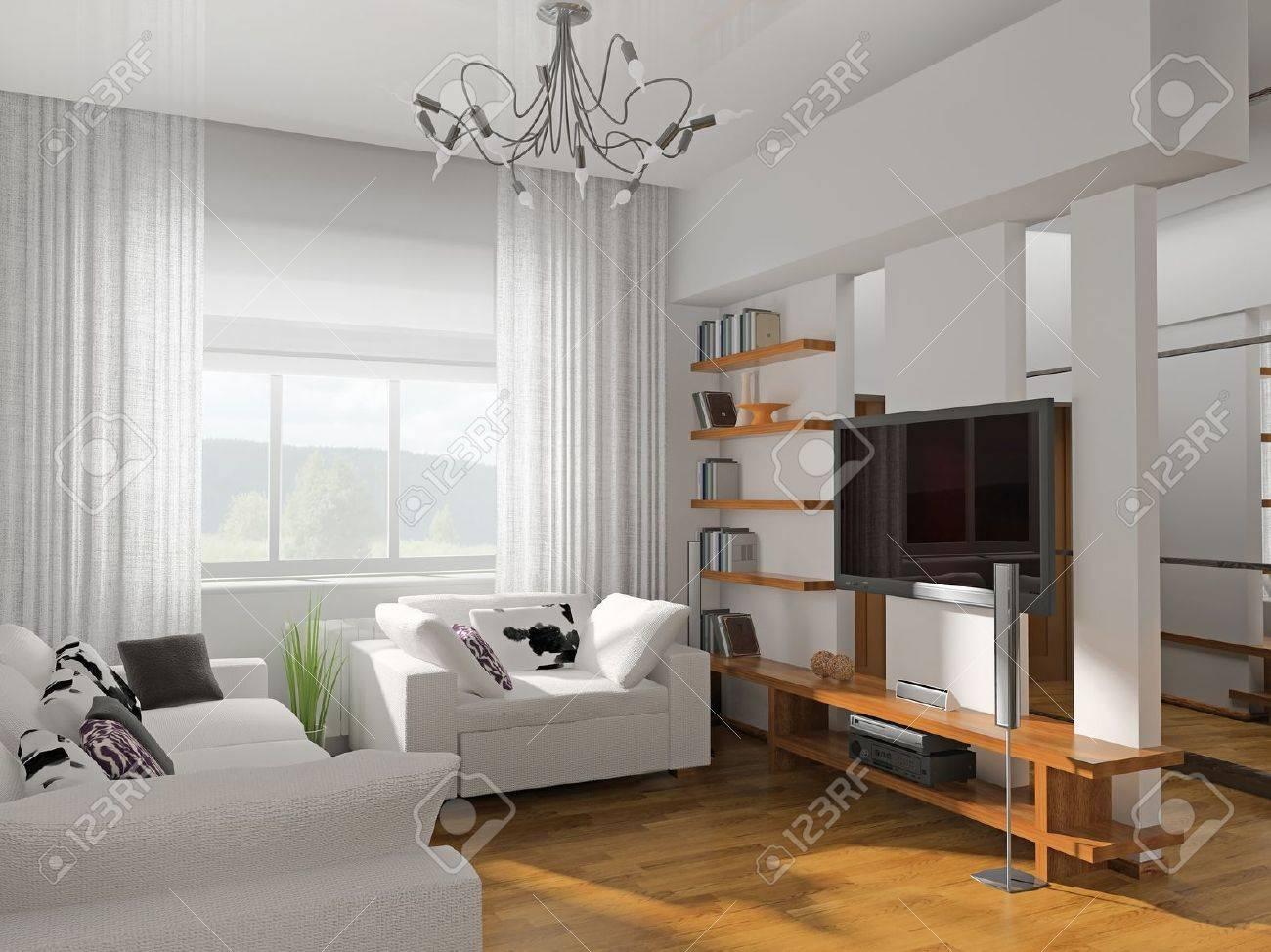Vardagsrum med moderna möbler 3d royalty fria stockfoton, bilder ...
