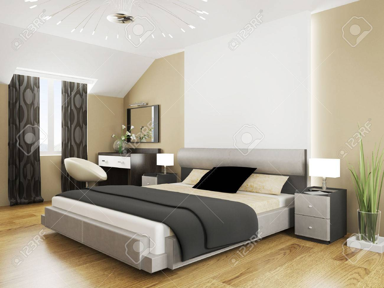 Bedroom in contemporary style 3d rendering