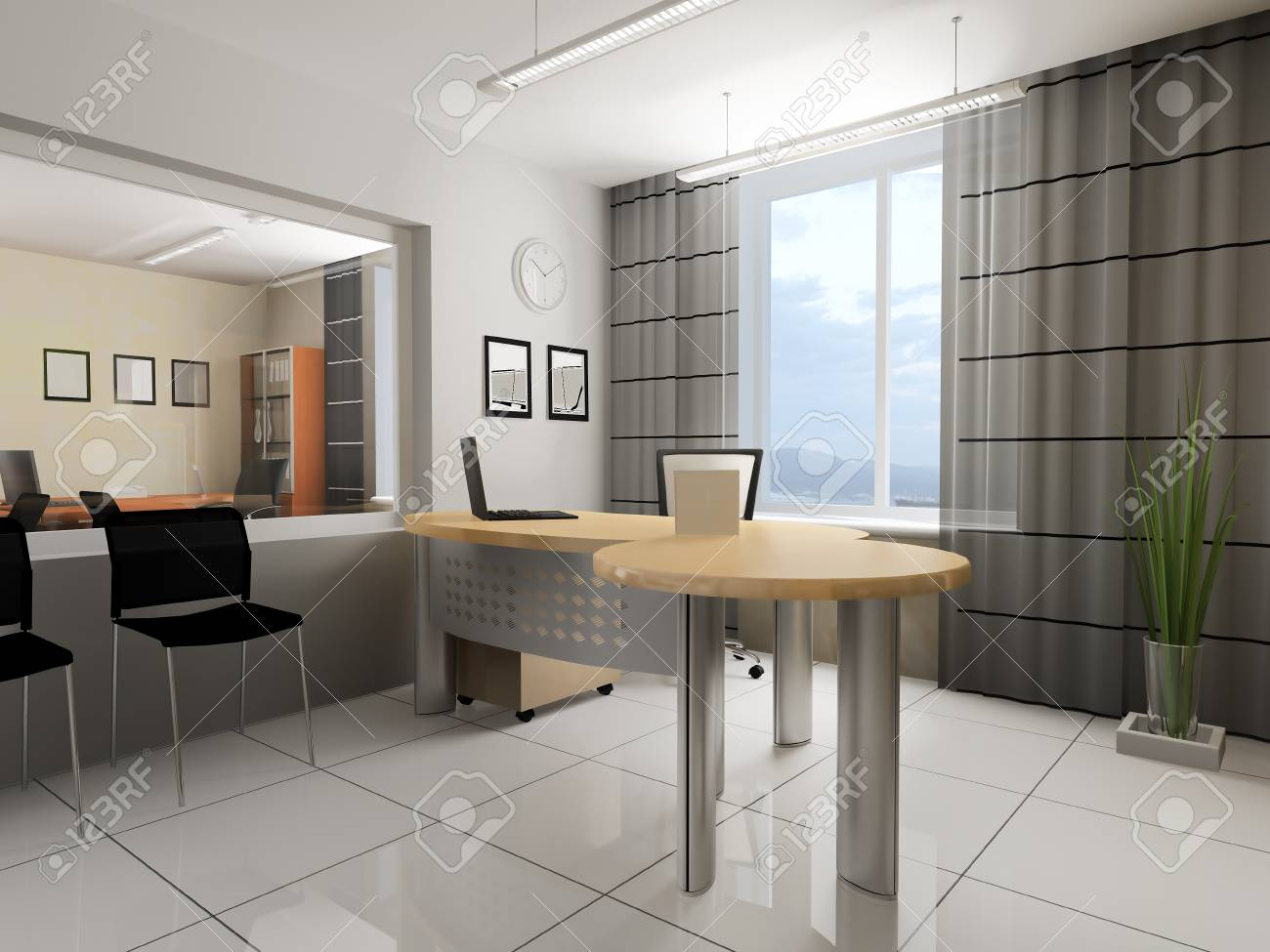Bureau Style Moderne : Intérieur bureau dans le rendu d de style moderne banque d images