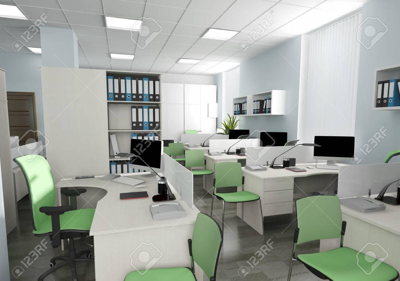 Intérieur bureau dans le rendu 3d de style moderne banque dimages