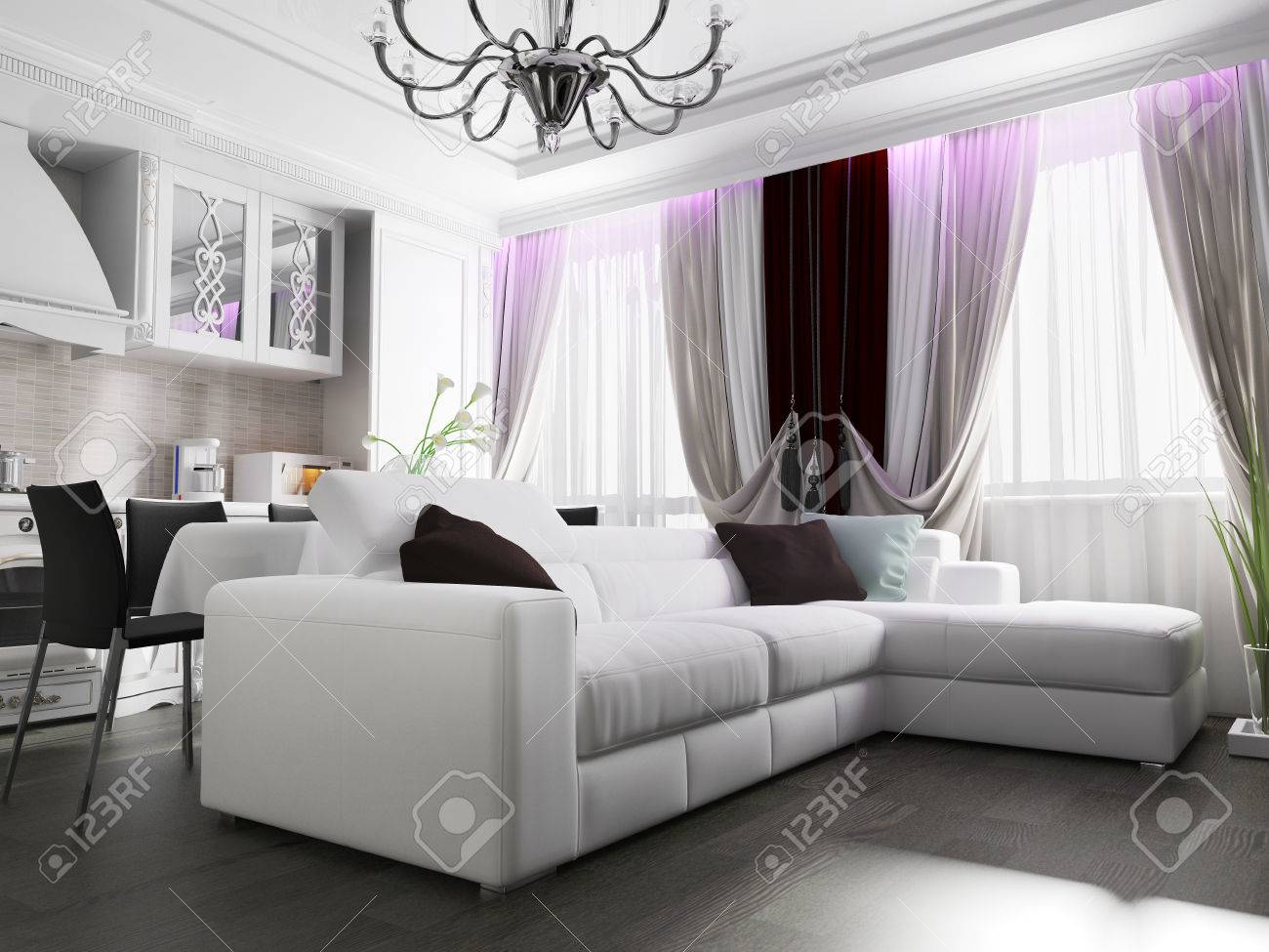 White Living Room Interior. 3 D Rendering Stock Photo, Picture And ...
