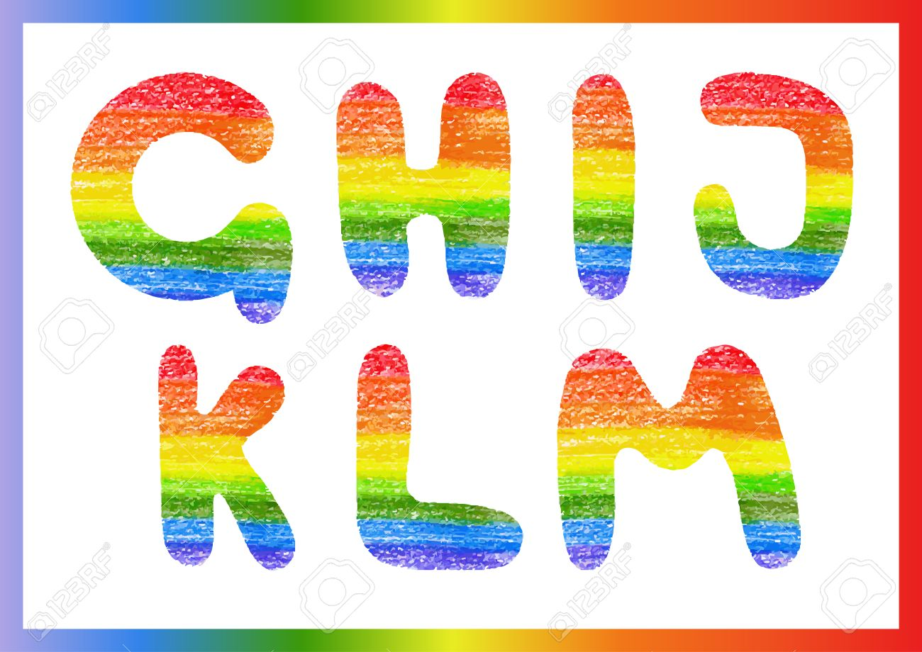 modern rainbow crayon alphabet crayon font or letters lettering