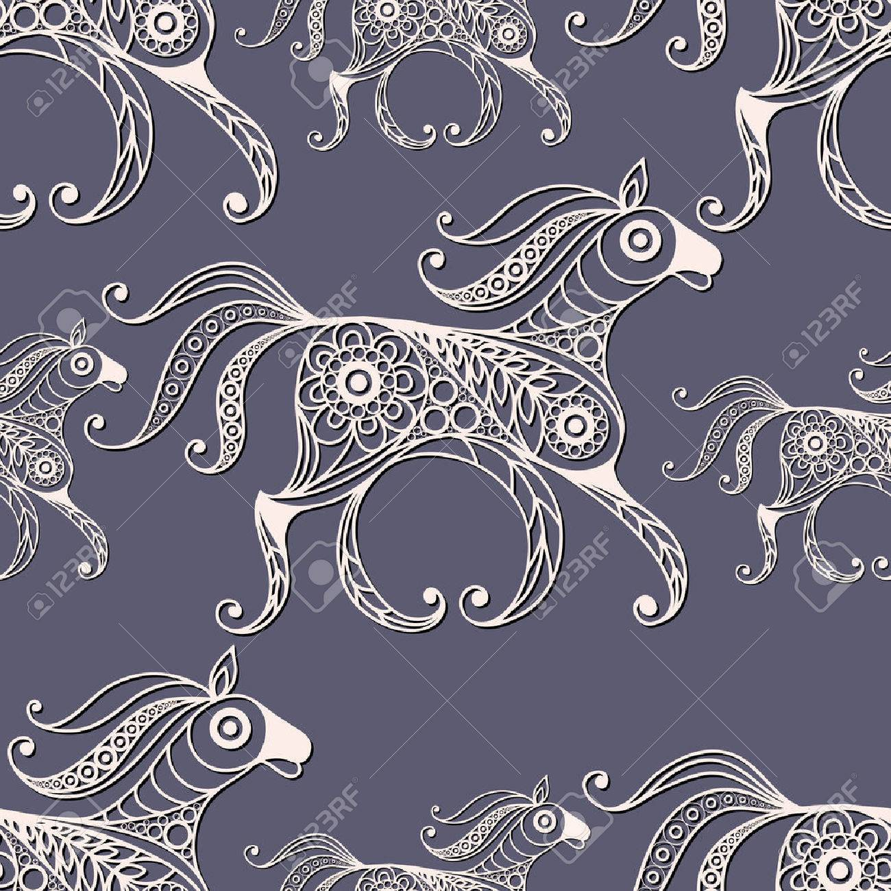 Seamless Texture With Lace Pattern In Floral Style (with Horse). Suitable  For Design