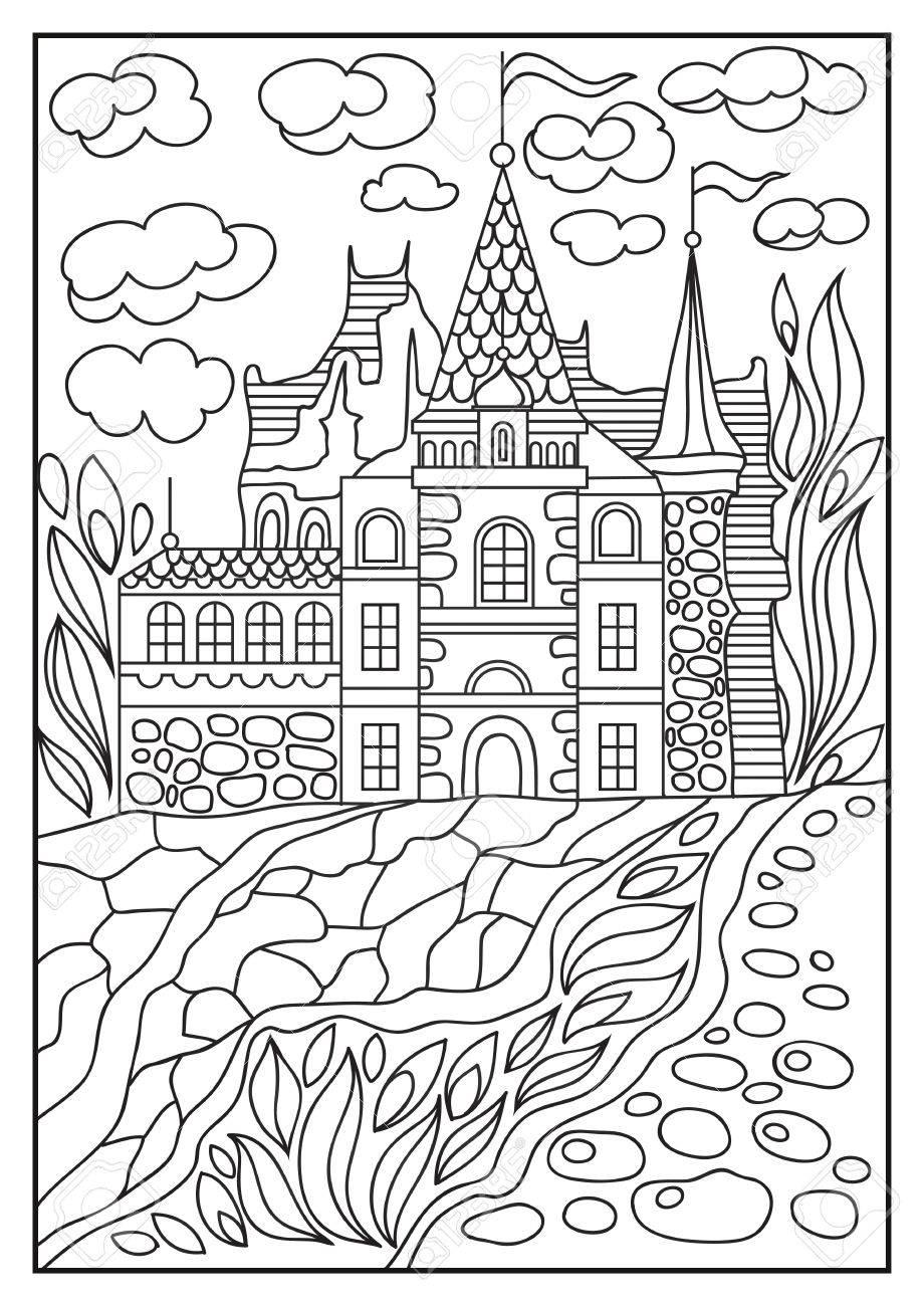 Fantasy landscape fairy tale castle old medieval town park fairy tale castle old medieval town park trees hand drawn stopboris Choice Image