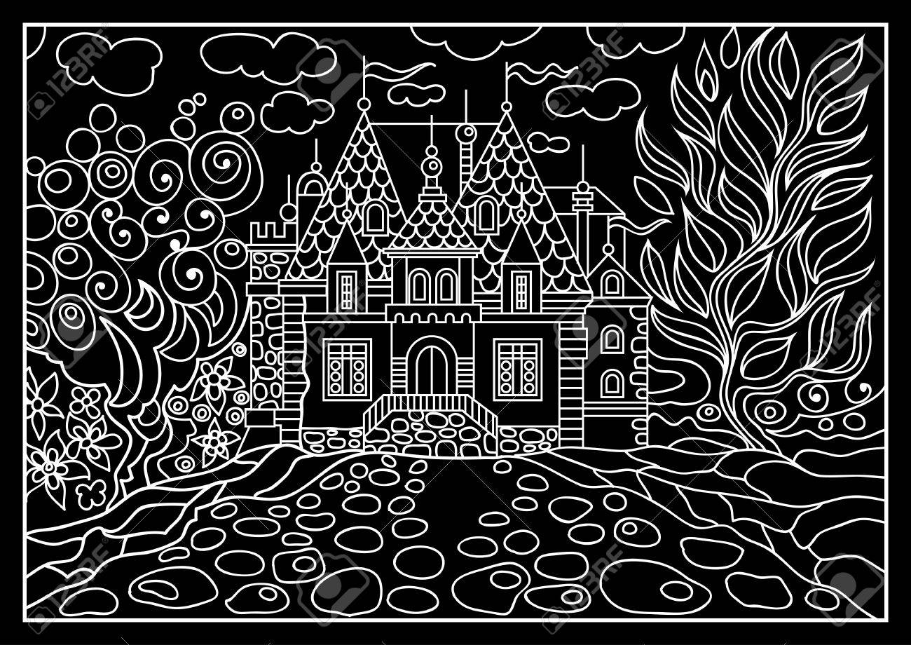 Fantasy landscape fairy tale castle old medieval town park fairy tale castle old medieval town park trees hand drawn stopboris Choice Image