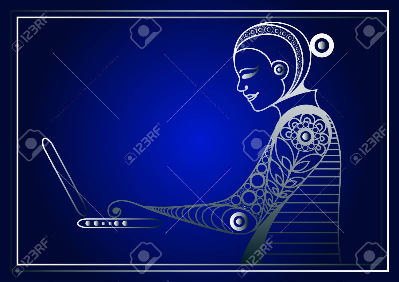 Woman with laptop business woman beautiful woman at work modern vector woman with laptop business woman beautiful woman at work modern lifestyle office life suitable for invitation flyer sticker poster banner stopboris Image collections