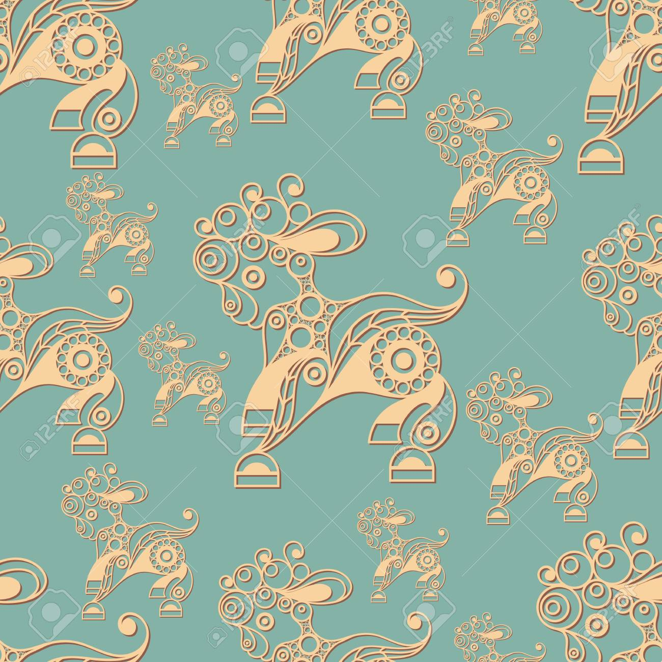 Seamless Pattern With Sheep Symbol Of The Easter Holiday Decorative Print Abstract