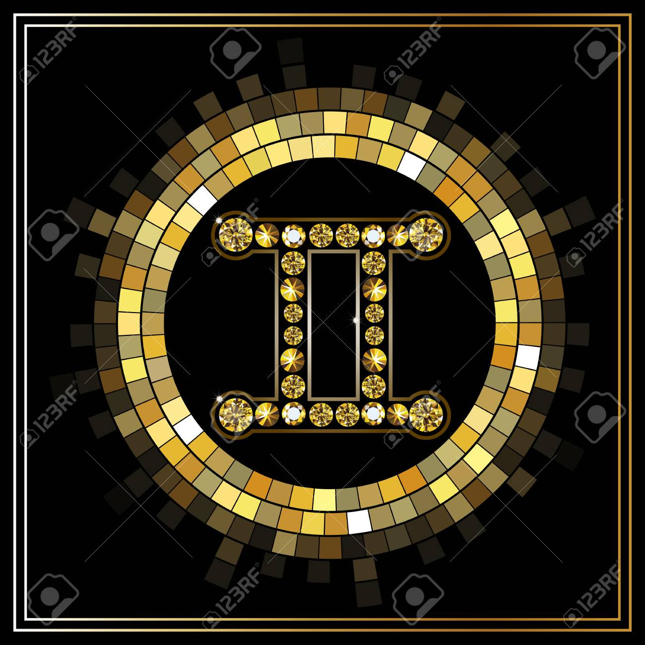 Decorative Zodiac Sign Gemini Horoscope And Astrology Astronomy Symbol Stock Vector