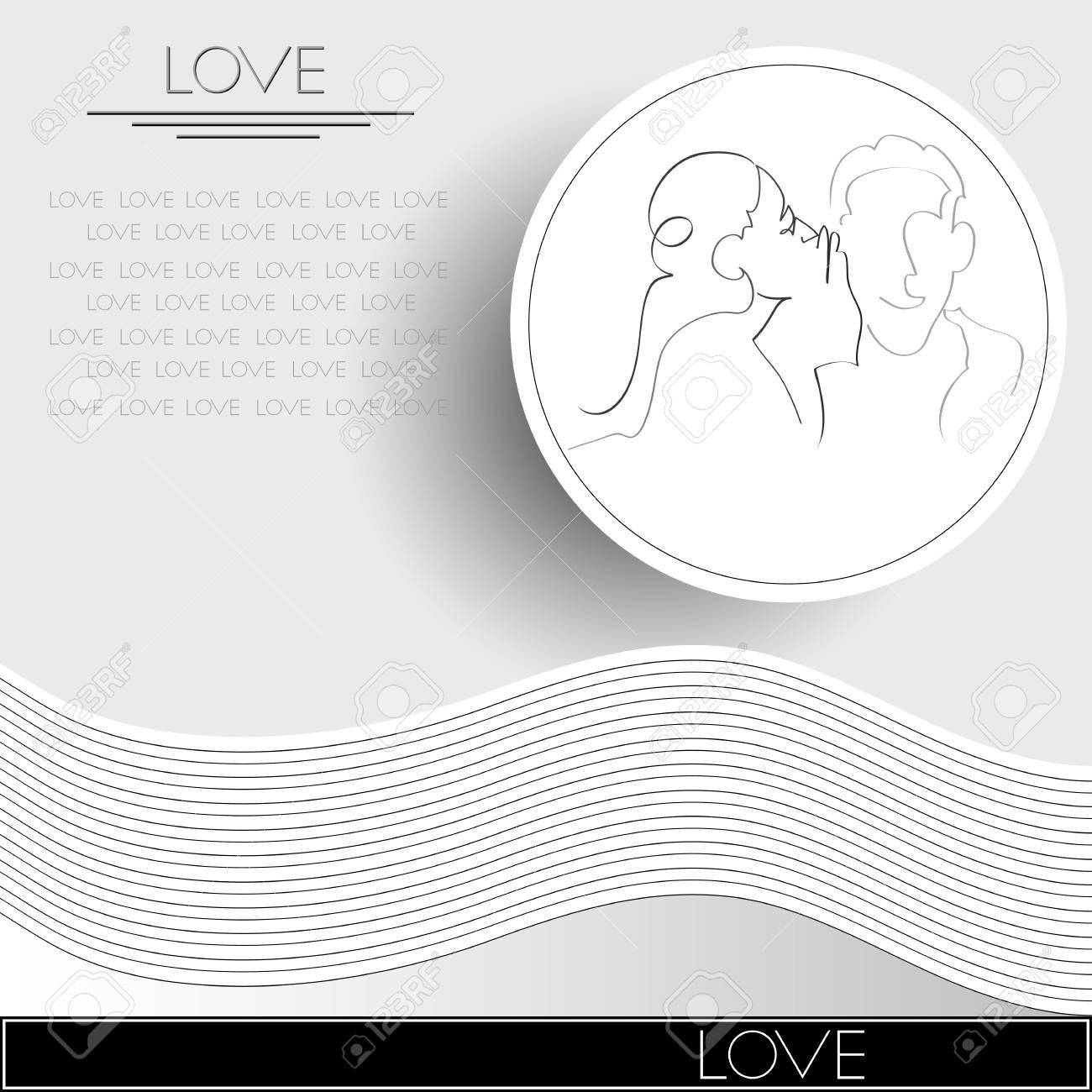 Grafische Darstellung Mit Paar In Der Liebe Geeignet Fur Einladung