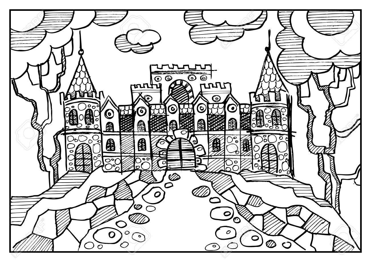 Paisaje De Fantasía Castillo Del Cuento De Hadas Ciudad Medieval Vieja árboles Del Parque Bosquejo Dibujado Mano Portada Del álbum Página Del