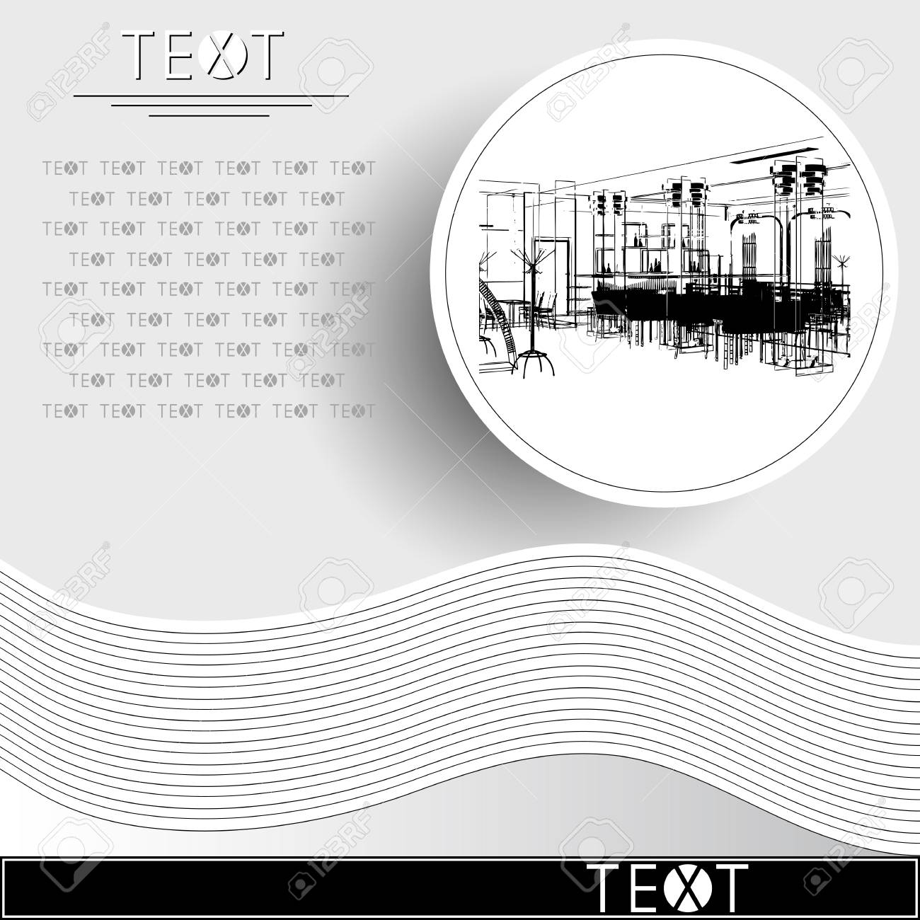 graphic drawing with abstract interior rounded template with