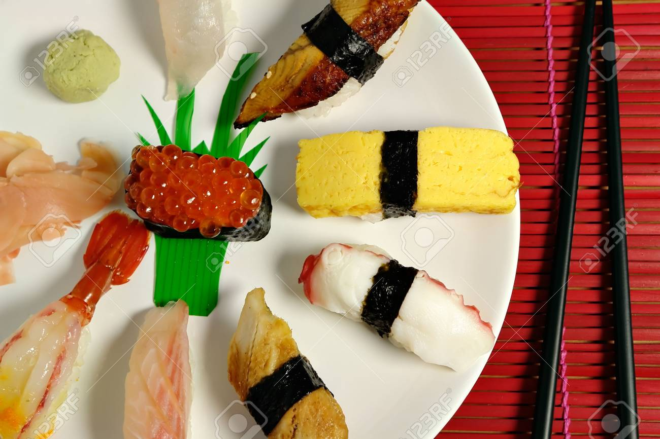 A selection of nigiri sushi on plate Stock Photo - 466694