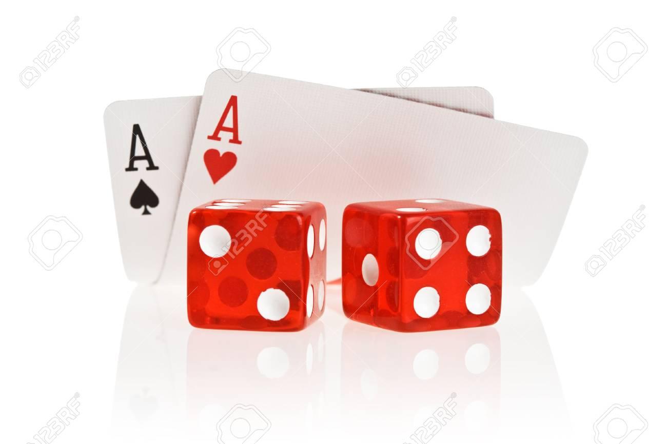 Pocket Aces Isolated on white background with reflection Stock Photo - 1829977