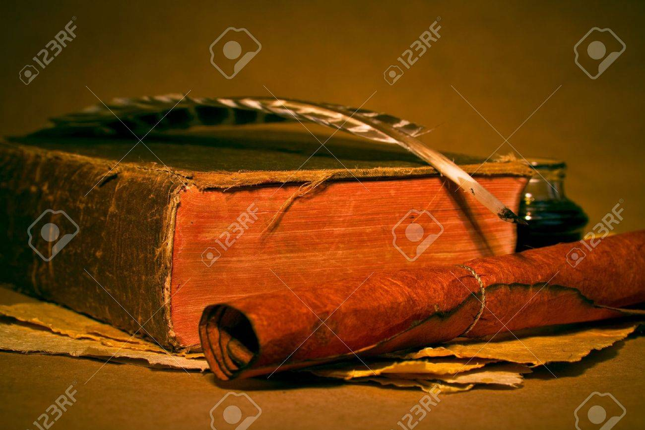 Quill, inkwell, book with an antique look Stock Photo - 2774117