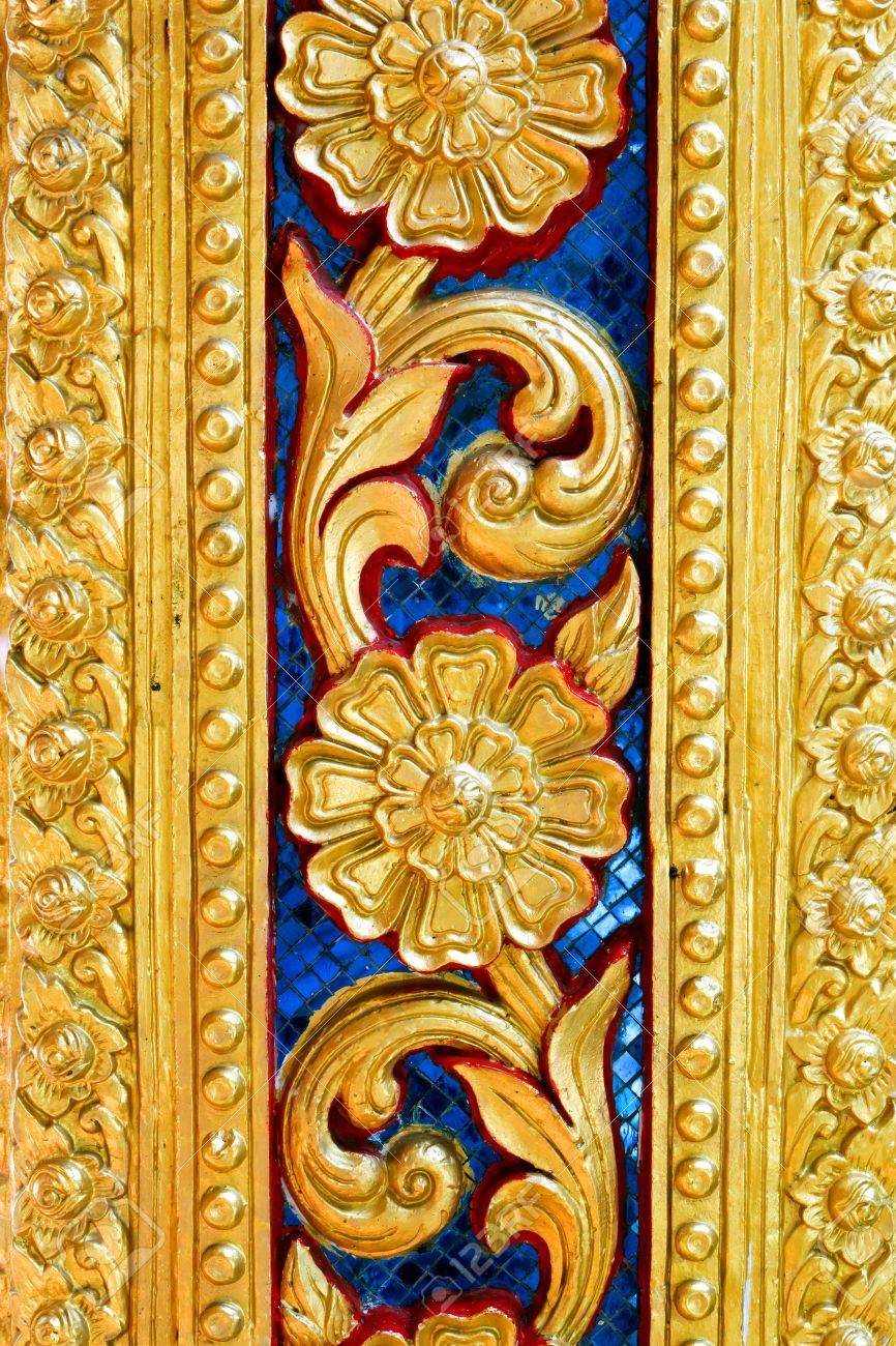 Thai Temple Golden Carving Wall Art Stock Photo, Picture And Royalty ...
