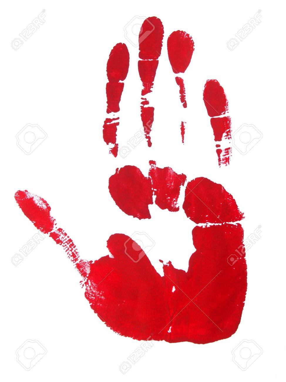 Image of a print of a red hand on a white background. Stock Photo - 2517841