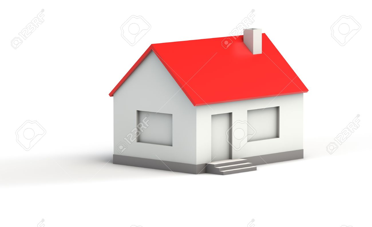 Simple 3d Model Of A House With Red Roof On White Background Stock Photo    18273001