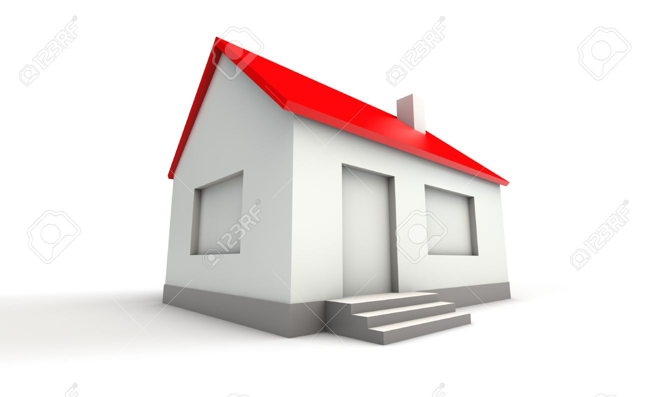 Simple 3d model of a house wide angle stock photo 18273022