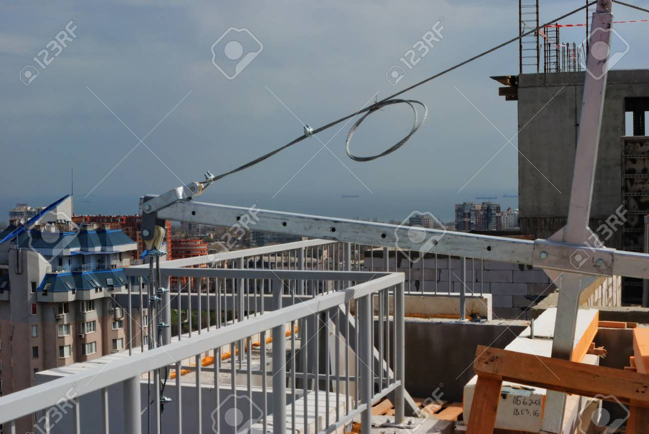view of the steel construction hoist on a construction site