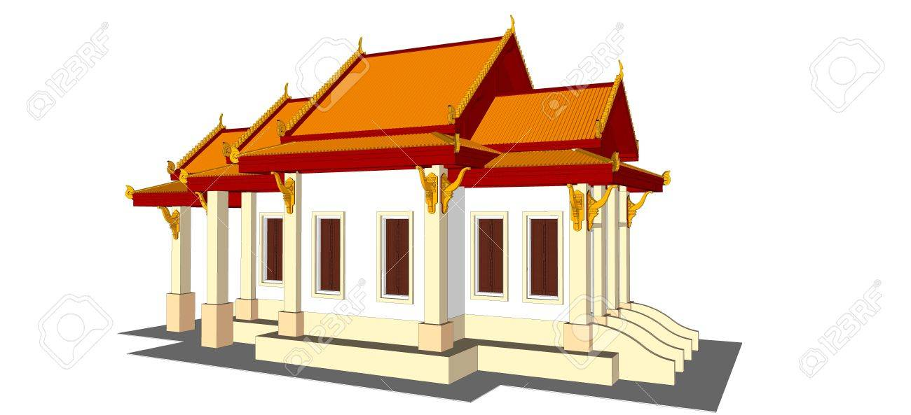 Architectural Design, The Small Temple In Thailand Stock Photo ...