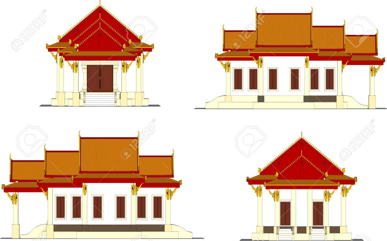 Architectural design, the small temple in Thailand - 29838342