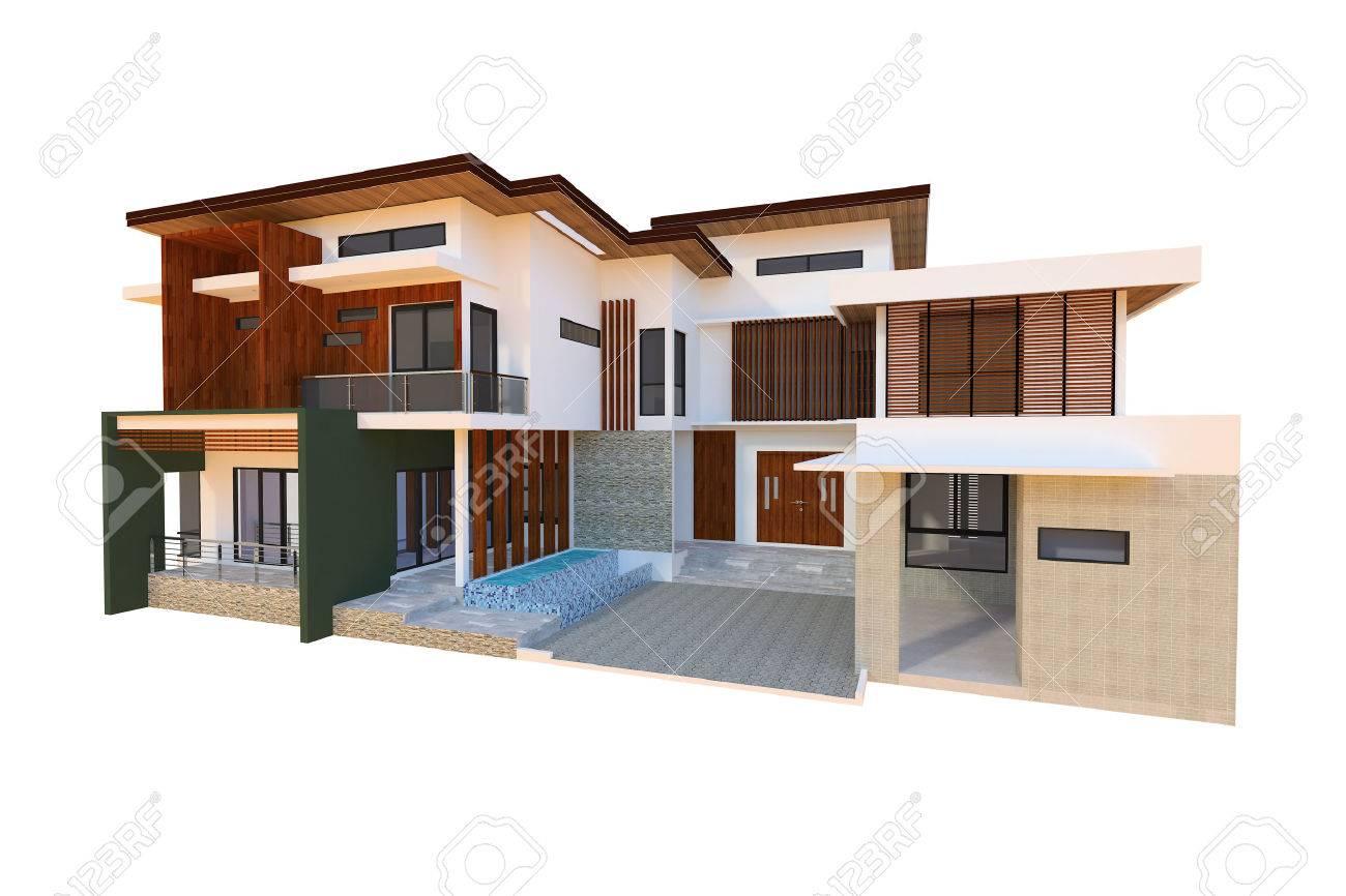 2 storey modern home design - 39573185