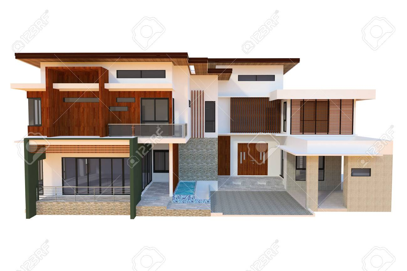 2 Storey Modern Home Design Stock Photo   39573194