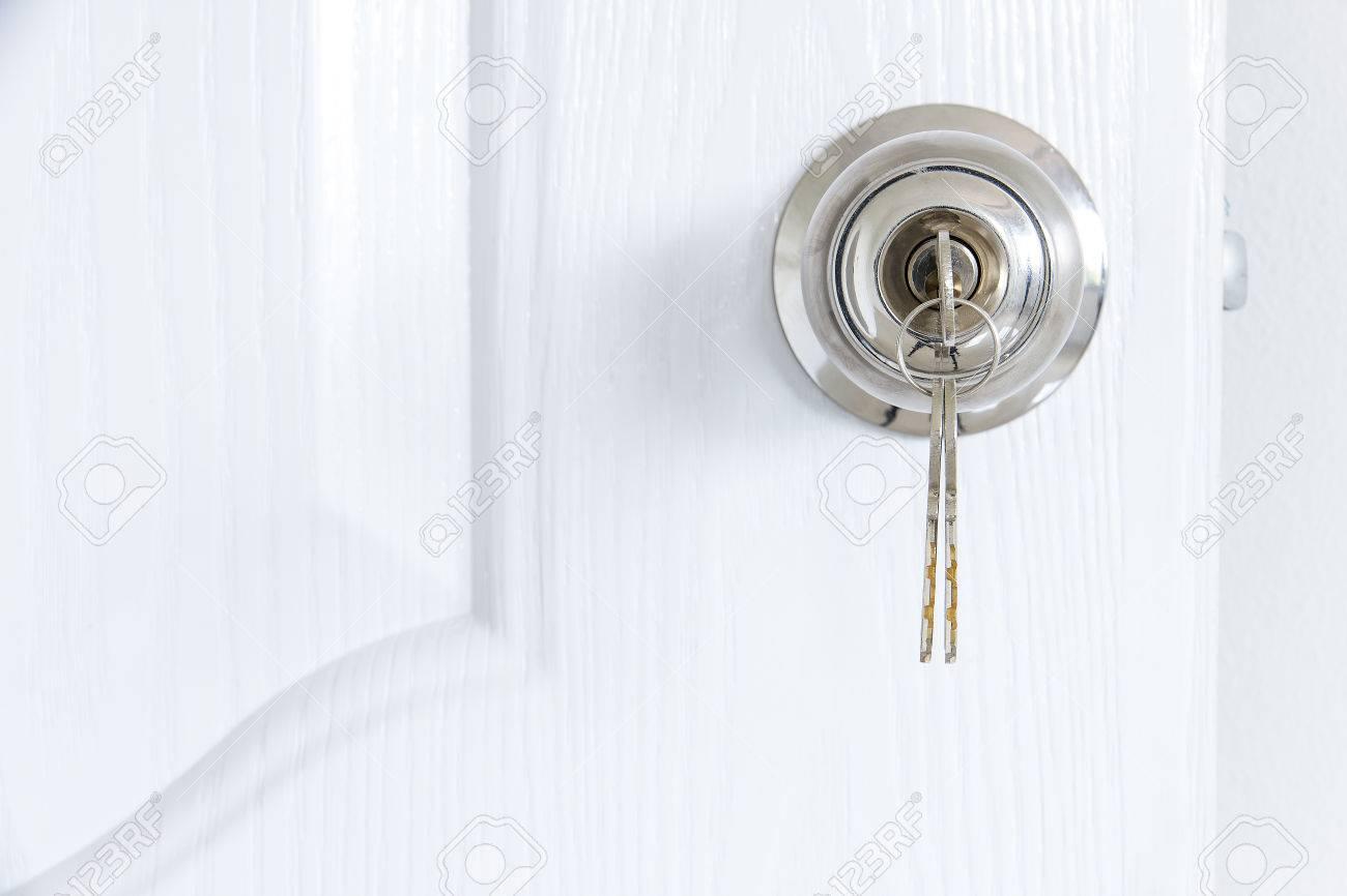 Knob locks with keys on the door - 60630224
