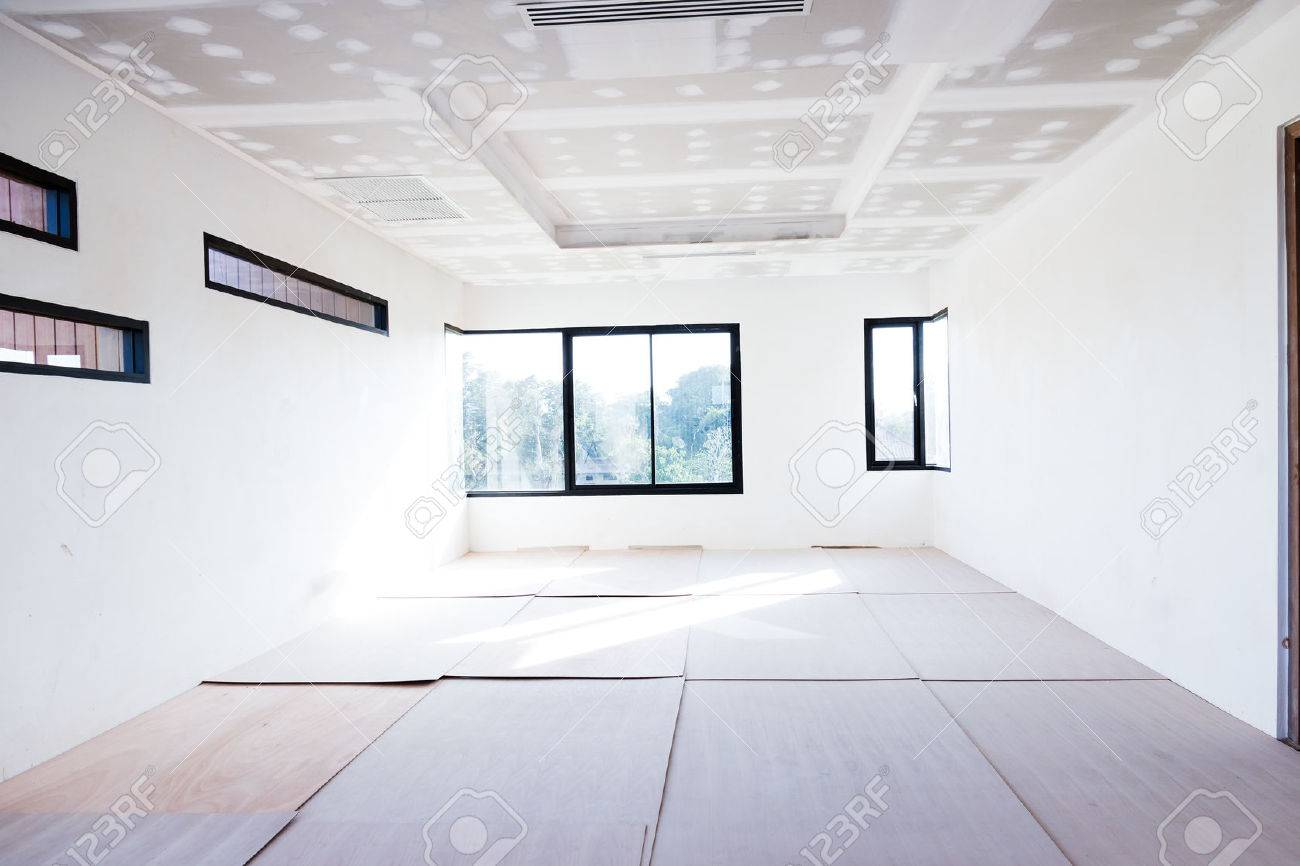 Empty Room Interior Build Gypsum Board Ceiling And Air Conditioner In  Construction Site Stock Photo