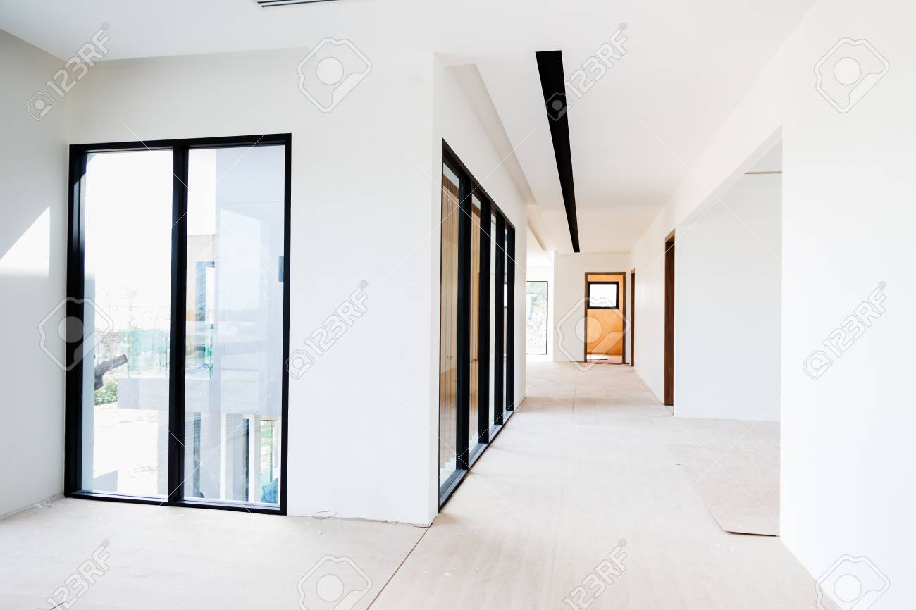 Empty Room Interior Build Wall Gypsum Board White Colur And Air Conditioner  In Construction Site Stock