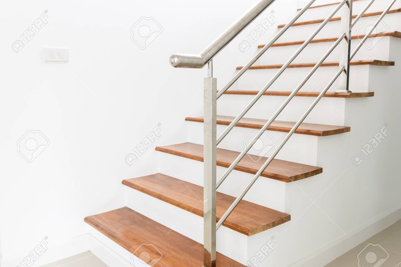 Interior Design Staircase Concrete Top Wooden Stainless Steel
