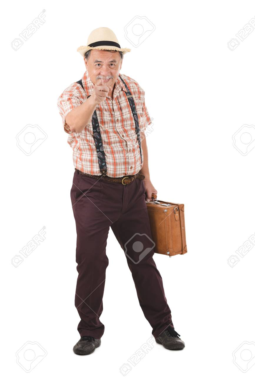 Asian Old Man Carrying Suitcase With Various Hand Signs Stock Photo Picture And Royalty Free Image Image 93086661