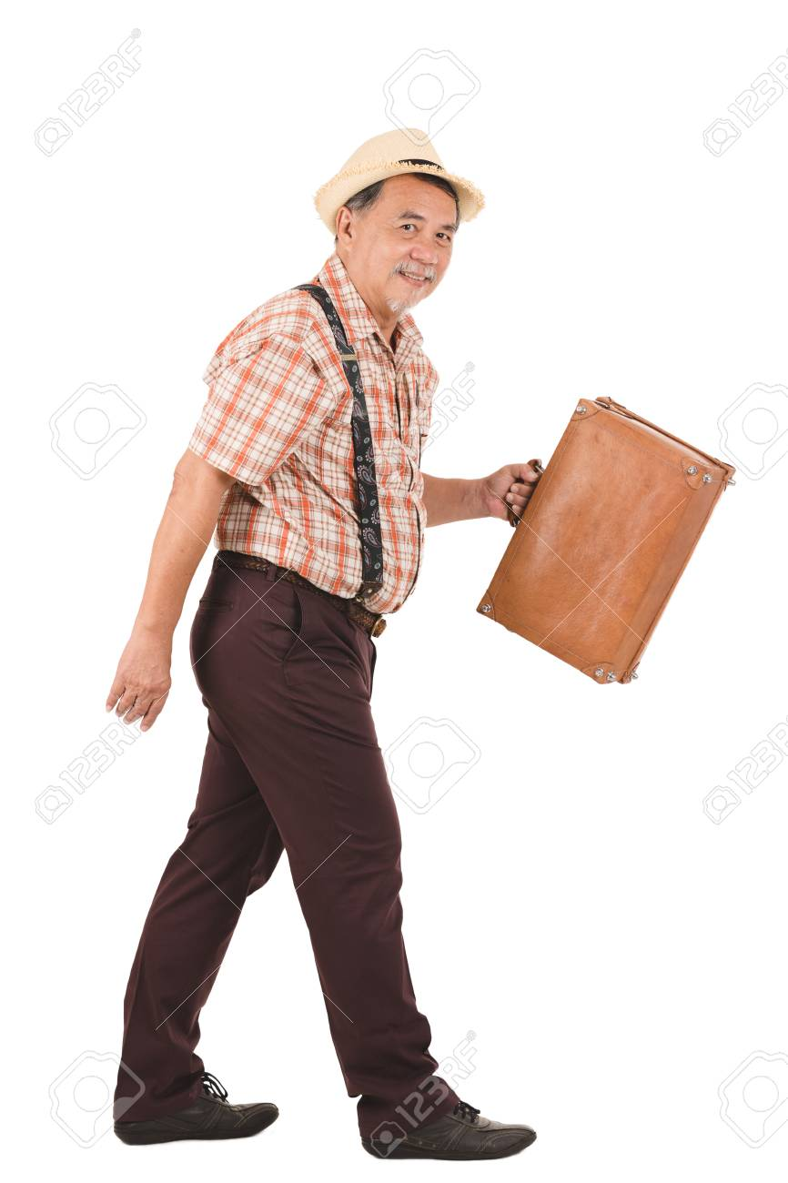 Asian Old Man Carrying Suitcase With Various Hand Signs Stock Photo Picture And Royalty Free Image Image 93412051