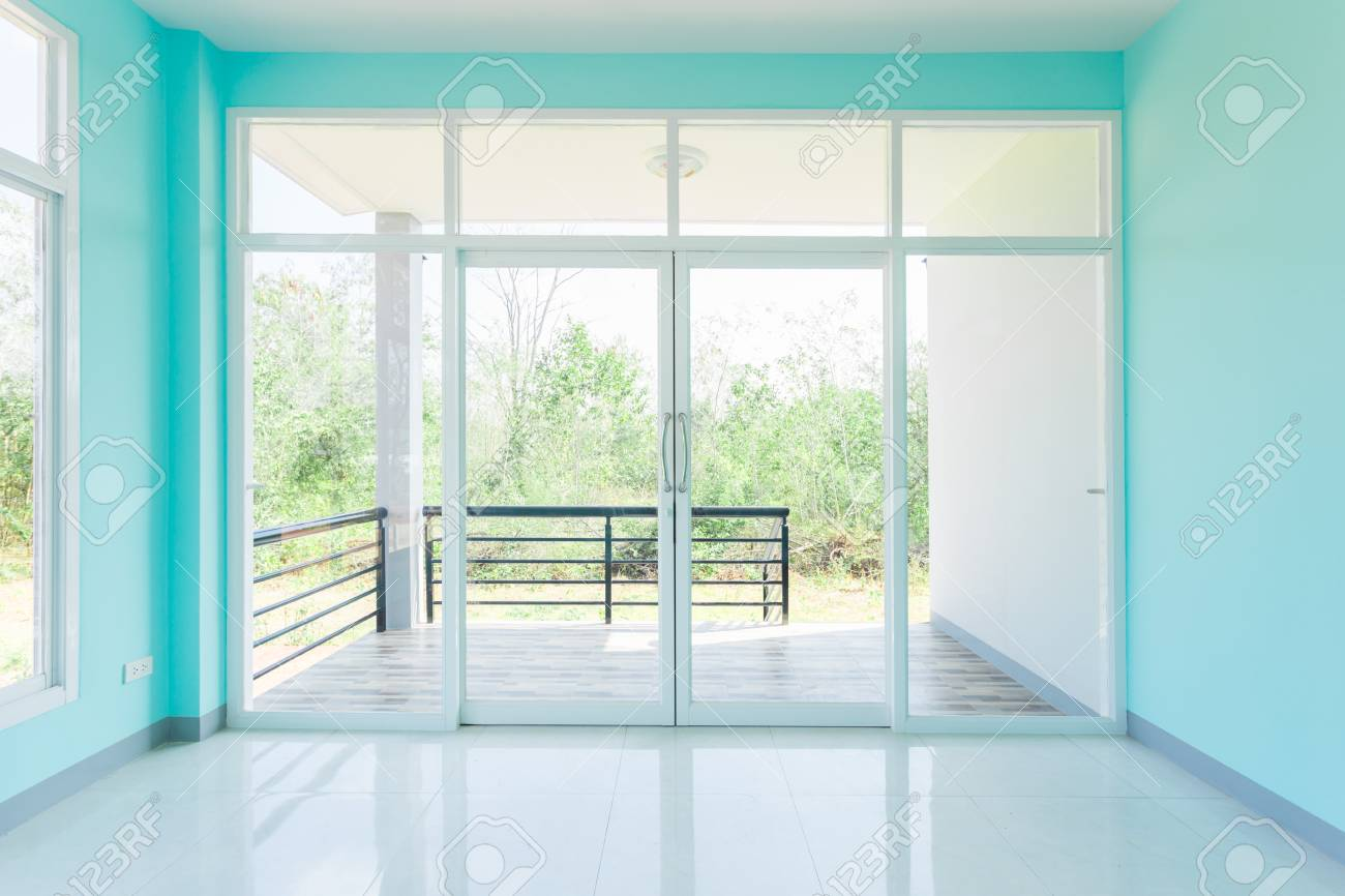 Construction Home Empty Room Blue Color Interior Window White Aluminum On  Wall Stock Photo   93468930