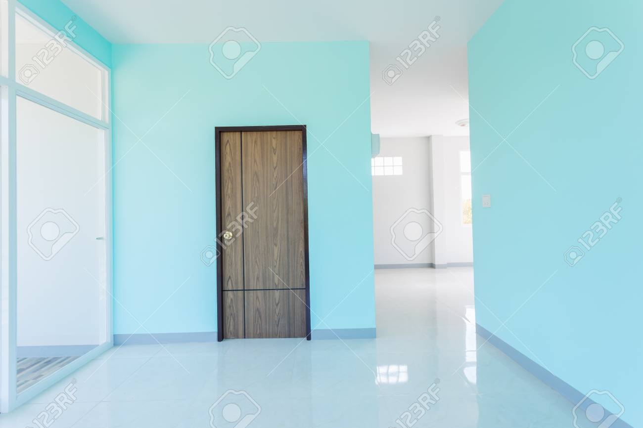 Construction Home Empty Room Blue Color Interior Window White Aluminum And  Door Wooden On Wall Stock