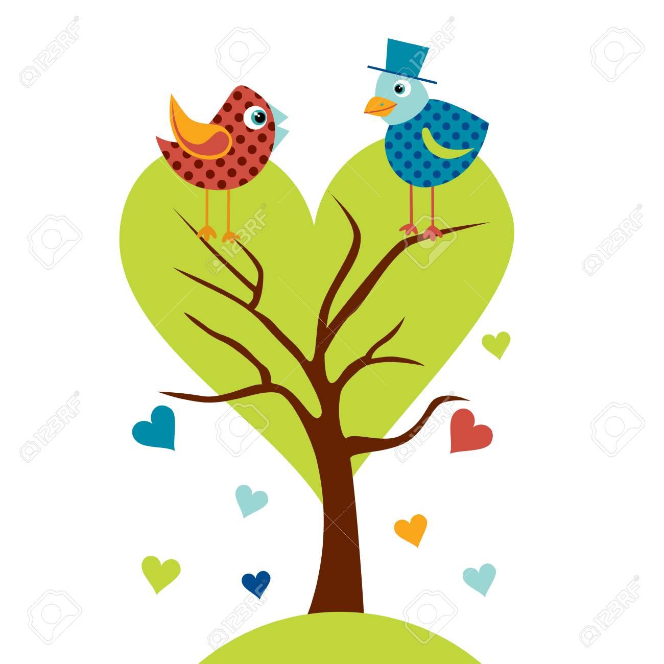 Pájaros Lindos En El árbol De Amor Ilustración Estilizado Animal De